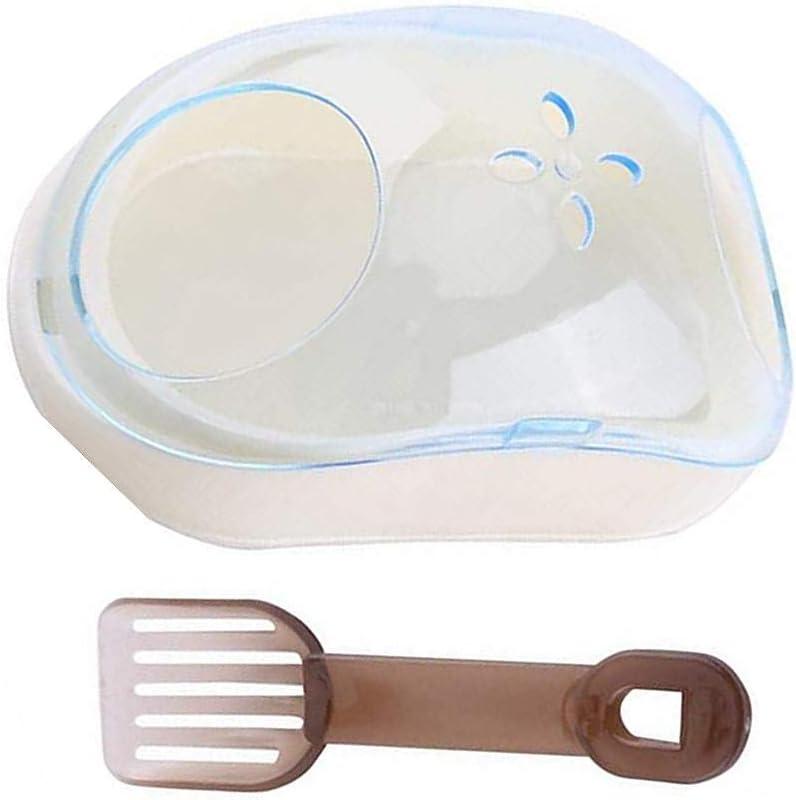 N\A Caja de plástico para baño de animales pequeños, para hámster o cobaya, con pala para hámster, cobaya, gerbo (color al azar)