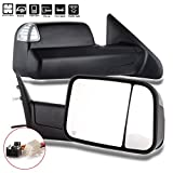 For Dodge Ram Towing Mirrors SCITOO Black Rear View Mirrors for 2014-2018 Dodge Ram 1500 2500 3500 Truck with Larger Glass Power Control, Heated Turn Signal Puddle Light Manual Flip up and Folding