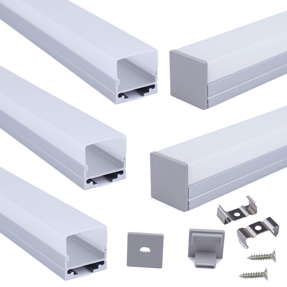 Muzata 5-Pack 3.3ft/1Meter 19.7x19.5MM U Shape LED Aluminum Channel System with Cover, End Caps and Mounting Clips Aluminum Profile for LED Strip Light Installations U116 by Muzata