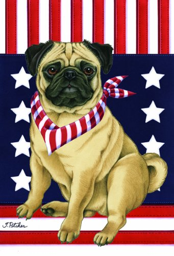 Pug Fawn - Tomoyo Pitcher Patriotic Garden Flag