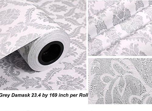 Papel pintado autoadhesivo, diseño de damasco, de PVC, ideal para forrar cajones o estantes o para decorar las paredes, 60 cm x 5 m, color gris: Amazon.es: ...