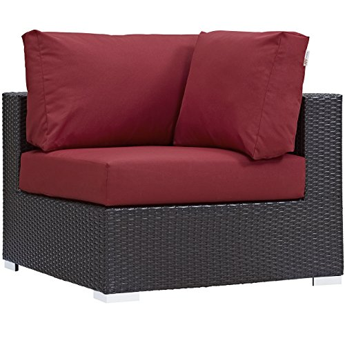 Modway Convene Wicker Rattan Outdoor Patio Sectional Sofa Corner Seat in Espresso Red
