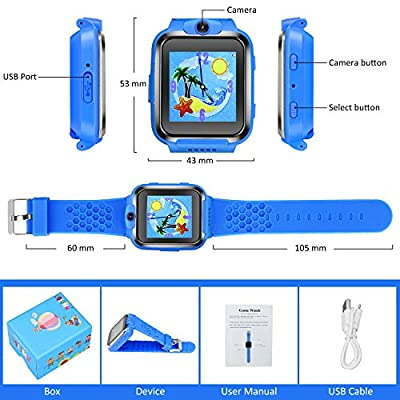 US Store Smart Watches for Kids Digital Game Watches Toys Boys Girls Age 3-12 Learning Toys Smartwatches Touchscreen Puzzle Games Video Recording Camera Watches for Kids Birthday Gifts (Blue): Electronics