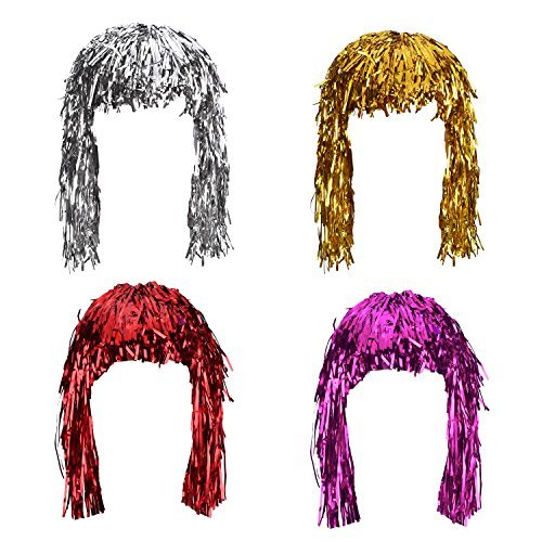 (Sumind 4 Pieces Foil Tinsel Wigs Fancy Dress Shiny Party Wig Metallic Costume Cosplay Supplies (Gold, Silver, Red and)