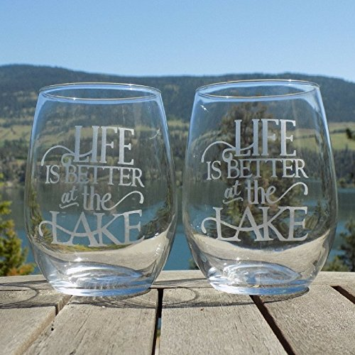 Life is Better at the Lake, Lake House Decor, Set of Two 20oz Etched Wine ()