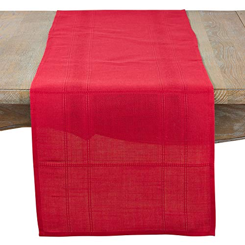 Fennco Styles Holiday Drawn Work Thread Design Table Runner - 2 Colors (Red, 16