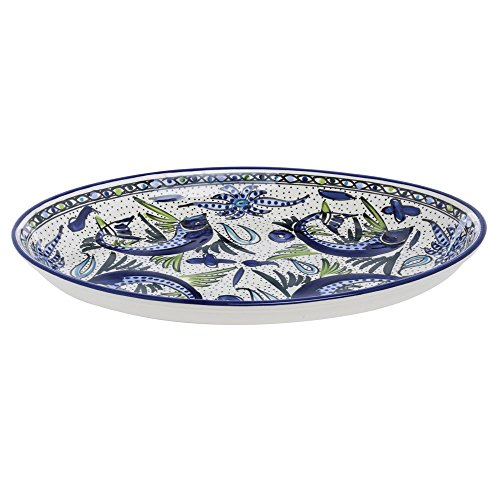 Le Souk Ceramique AF11 Stoneware Poultry Platter, Aqua Fish