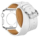 Maxjoy for Apple Watch Band, Genuine Leather Watchband 42mm for iWatch Loop Strap with Metal Clasp Adapters Replacement Bracelet for Apple Watch Series 3, 2, 1 Sport Edition, Double Tour Cuff (White)