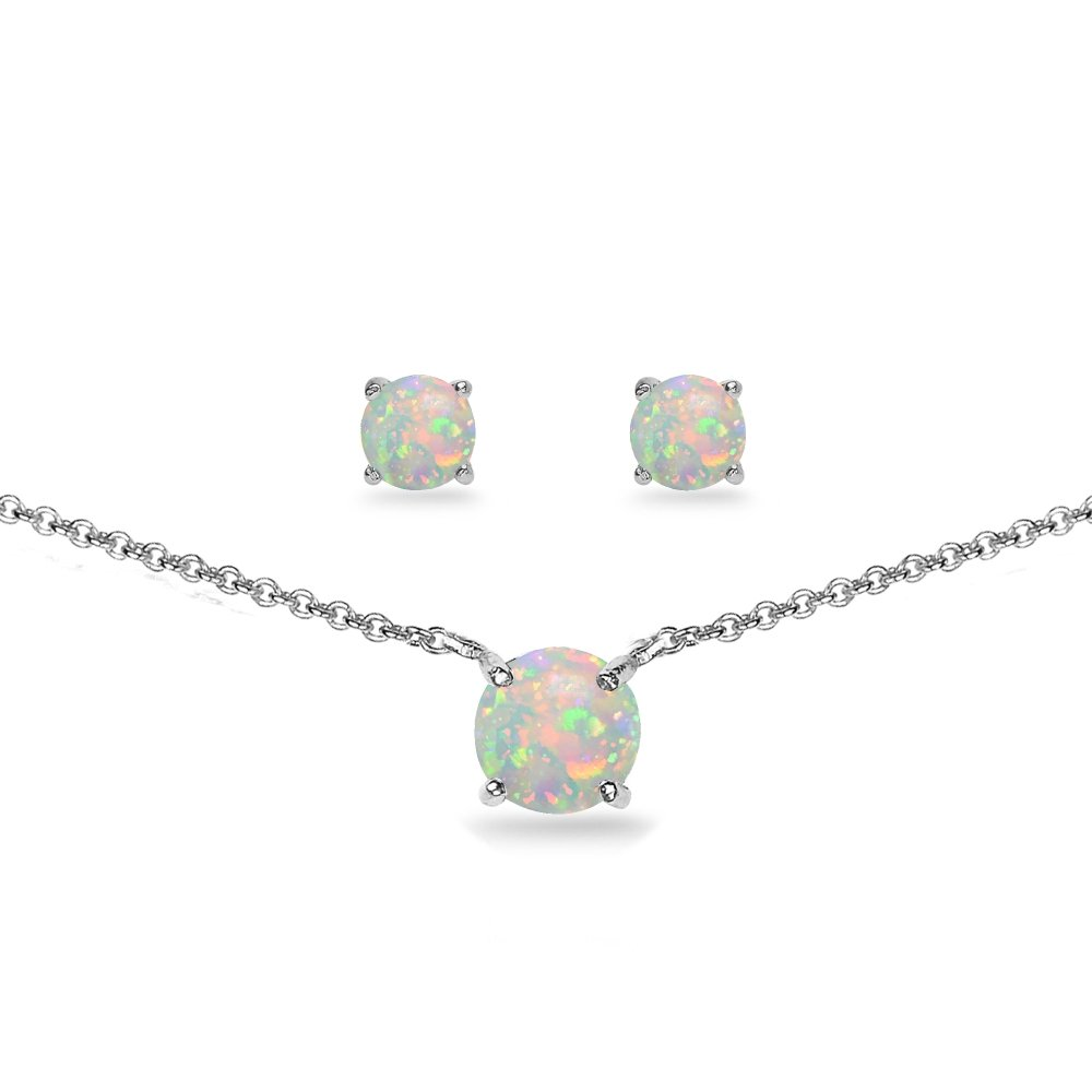 GemStar USA Sterling Silver Simulated White Opal Round Solitaire Choker Necklace and Stud Earrings Set
