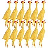 Kicko 8'' Mini Rubber Stretch Chickens – Pack of 12 Yellow Stretchy Slingshot for Kids, Chew Toys or Play Fetch for Pet Dogs, Sensory Stimulator, Gift Ideas, Prankster Item