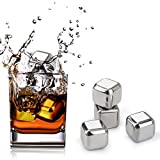 Stainless Steel Ice Cubes, Beverage Chill Rocks Chilling Stones - Set of 8 Whiskey Stones with Tongs and Ice Cubes Trays for Wine, Beer, Whiskey and Other Drinks