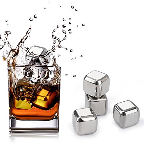 Stainless Steel Ice Cubes, Beverage Chill Rocks Chilling Stones - Set of 8 Whiskey Stones with Tongs and Ice Cubes Trays for Wine, Beer, Whiskey and Other Drinks by Fortune Candy