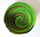 African Zulu woven telephone wire bowl – Extra small round - Green - Gift from Africa