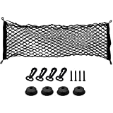 Zilong Trunk Cargo Net, Flexible Car Back Rear Mesh Storage Net Organizer with Elastic String and 4 Adjustable Mounting Screw (35''x12'')