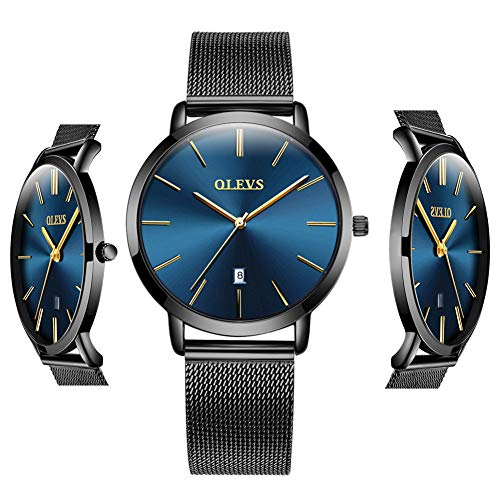 Trendy Women Watches - Blue Inexpensive Watches for Women Waterproof - OLEVS Thin Couples Minimalist Watches with Stainless Steel Date Women Analog Quartz Gift Watch for Birthday Party Business