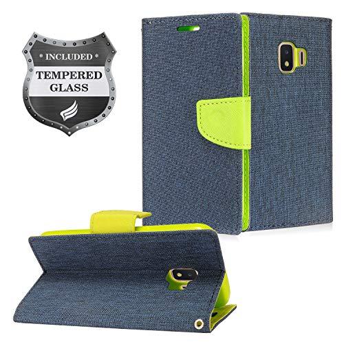 Galaxy J2 (MetroPCS), J2 Pure, J2 Dash, J2 Core (2018), SM-J260 - Denim Fabric Flip Wallet Case + Tempered Glass Screen Protector - CT5 Green/Dark Blue ()