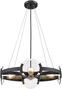 TOMSSL Nordic Modern Glass Living Room Chandelier Bedroom Restaurant Hotel Study Art Glass Corridor Ceiling Lamp Black 4 Light Source 55x55cm