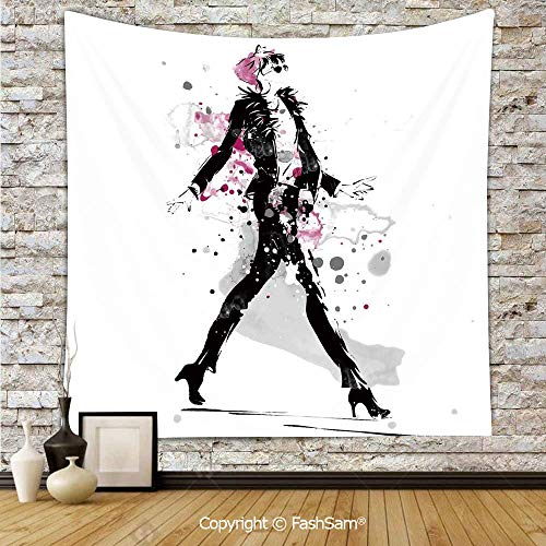 FashSam Tapestry Wall Blanket Wall Decor Glamorous Stylish Sexy Woman Model on Catwalk Runway in Vintage Clothes Design Home Decorations for Bedroom(W51xL59)