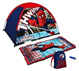 Marvel Ultimate Spider-man Tent and Sleeping Bag 4 Piece Fun Camping Kit