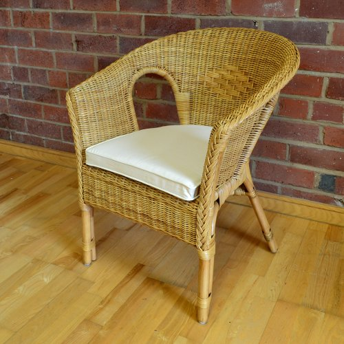 Hand-Woven Rattan Bedroom Conservatory Chair with Natural Cushion - Honey