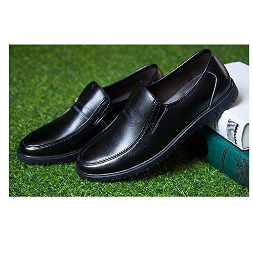 De DHFUD Cuero Hombres Papá Aire Zapatos De Edad Descanso Mediana Negro Libre 4T5vxwT