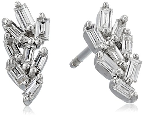 Leaf Diamond Earrings Cut - 10k White Gold Leaf Taper Diamond Earrings (1/10cttw, I-J Color, I2-I3 Clarity)