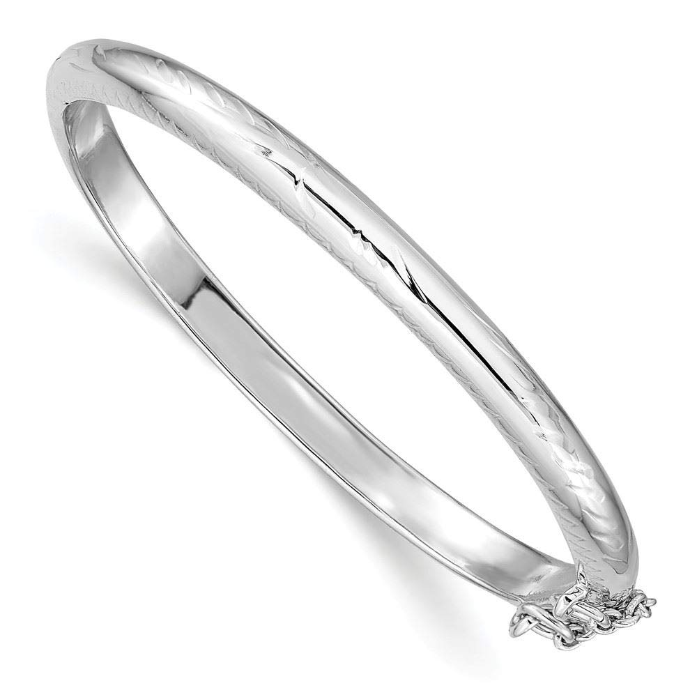 Sterling Silver with Safety Chain Hinged Childs 4 MM Bangle Bracelet