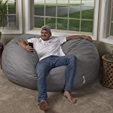 Big Joe Fog XL Fuf Lenox Foam Filled Bean Bag Chair with Liner and Removable Cover, Extra Large with Remvovable