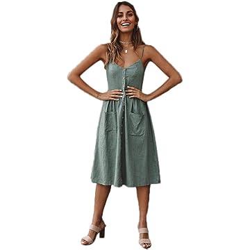 DREAMVAN Women Fashion V-Neck Sleeveless Backless Pleated Button Slim Sling Dress Dresses