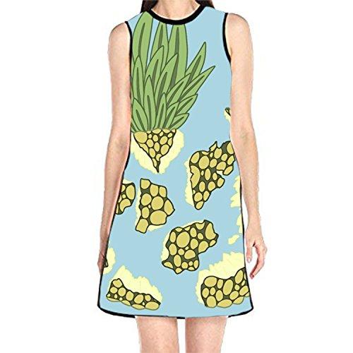 Women's Sleeveless Sundress Pineapple Confetti Print T-Shirt Dress A-Line Tunic - Print Confetti Dress