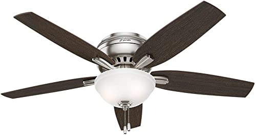 Hunter Indoor Low Profile Ceiling Fan with light and pull chain control – Newsome 52 inch, Brushed Nickel, 53315 Renewed