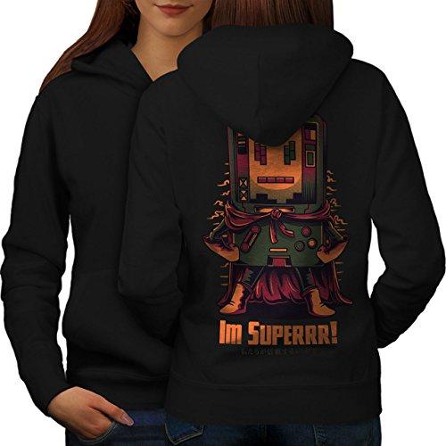 wellcoda Super Hero Console Womens Hoodie, Boy Cool Print on The Jumpers BackBlack -