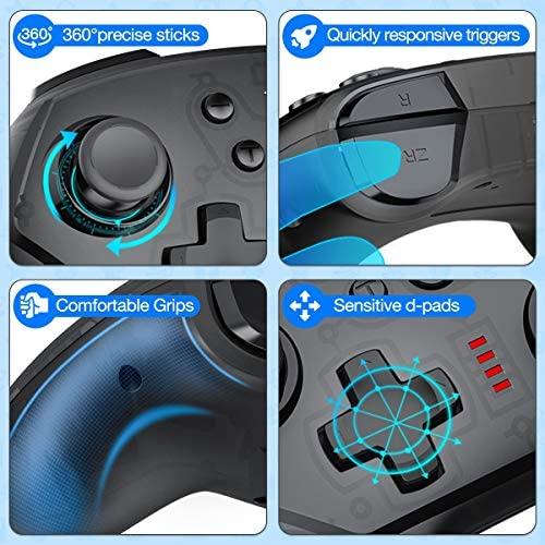 JACKiSS PRO Wireless Pro Controller for Switch Controllers, Pro Controller Support Switch/Switch Lite, Remote Control for Switch Controller Wireless with Turbo/Dual Motor/Vibration-Black