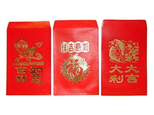 Chinese Red Envelopes, pack of 50 in 3 designs