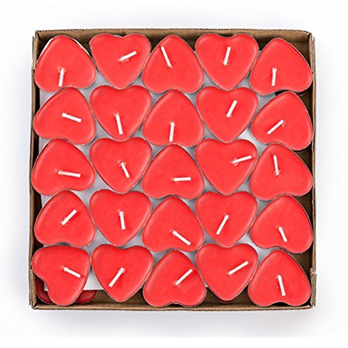 Hosaire Candles 50 Pcs Smokeless Heart Shaped Romantic Love Candle Bulk for Wedding, Birthday, Party, Halloween, Christmas, Festival Red
