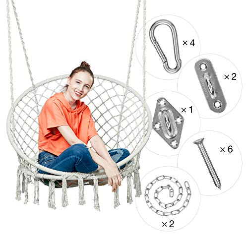 Greenstell Hammock Chair Macrame Swing with Hanging Kits, Hanging Cotton Rope Swing Chair, Comfortable Sturdy Hanging Chairs for Indoor,Outdoor,Bedroom,Patio,Yard, Garden,Home,290LBS Capacity Beige