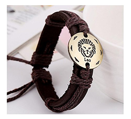 Fariishta Jewelry Handmade LEO Constellation Genuine Leather Wrap - Charleston Shopping North