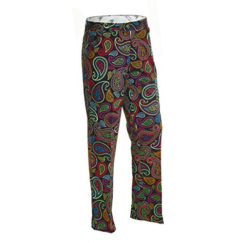 Royal & Awesome Men's Golf Pants, Crazy Paisley, 30W x 30L