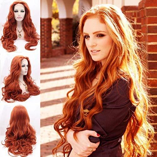 BESTUNG Women's Long Body Wavy Free Part Copper Red Glueless Half Hand Tied Synthetic Lace Front Wig For Halloween Heat Resistant Wig for Women (24 inches, Copper Red -