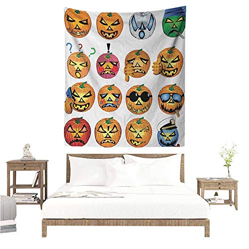 Halloween Wall Tapestry for Bedroom Carved Pumpkin with Emoji Faces Halloween Inspired Humor Hipster Monsters Artwork Living Room Background Decorative Painting 54W x 72L INCH Orange ()