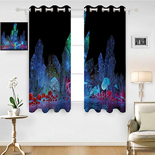 SATVSHOP Window Treatments Curtains Valance for Living Room - 120W x 108L Inch- Psychedelic Magic Crystals Background Effects Mystic Nature Artistic with Neon Light Image Navy Black.