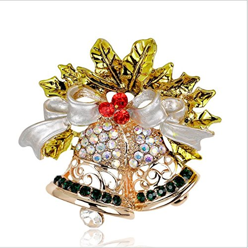 Fashion Alloy diamond pearl snowman Christmas tree boots sleigh bells penguins Christmas pin brooch #2 (White gold bells)