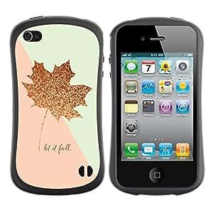 "Hypernova Slim Fit Dual Barniz Protector Caso Case Funda Para Apple iPhone 4 / iPhone 4S [Pink Gold Maple Leaf caída del otoño Glitter""]"