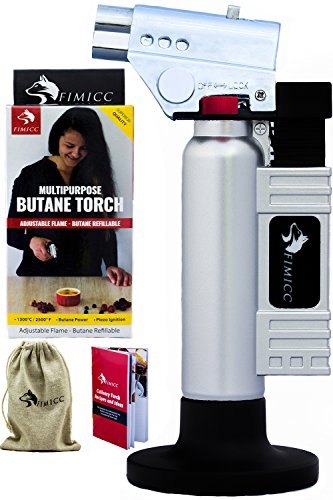 Silver Small Sugar Dish - fimicc Culinary Butane Torch Refillable with Two Type of Flames, Safety Lock & Adjustable Flame | Creme Brulee, Desserts & More-BONUS Cotton Bag, Recipe Booklet and E-book & Video (Matte Silver)