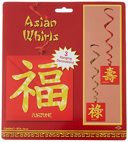 Beistle 50274 3-Pack Asian Whirls, 3-Feet 4-Inch