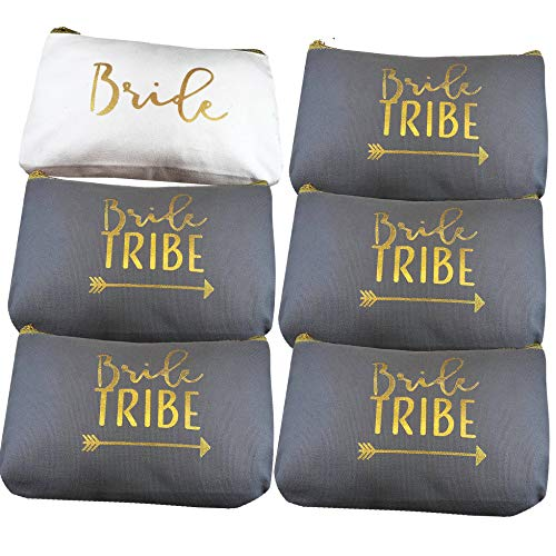 6 Piece Set | Bride Tribe Canvas Cosmetic Makeup Clutch Gifts Bag for Bridesmaid Proposal Box & Bridesmaids Bachelorette Party Favors (Grey)]()