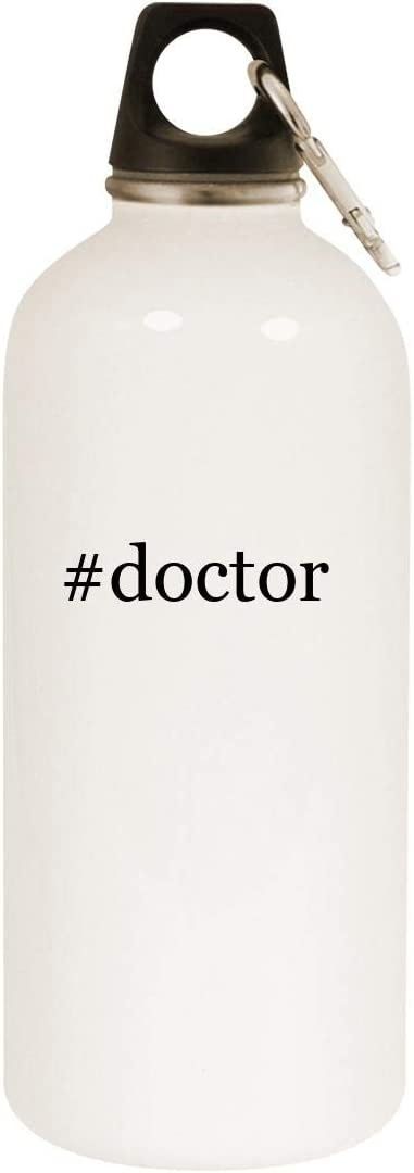 #Doctor - 20Oz Hashtag Stainless Steel White Water Bottle With Carabiner, White