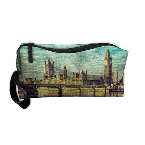 Portable Travel Cosmetic Toiletry Clutch Bag Organizer Case Oxford London Tower Bridge Illustration Storage Pouch -