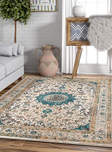 Well Woven Djemila Medallion Beige/Blue Vintage Persian Floral Oriental Area Rug 8 x 11 (7'10