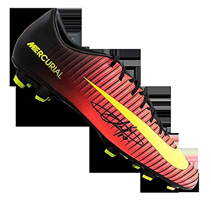 7911b642003 Image Unavailable. Image not available for. Color  Eden Hazard Autographed  Signed Orange and Black Nike Mercurial Boot ...